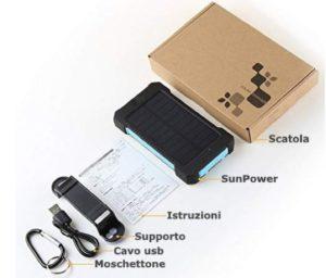 solar charger contenuto della confezione